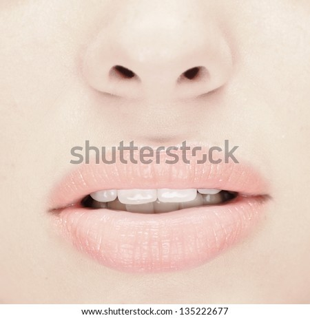 close up of beauty woman face - stock photo