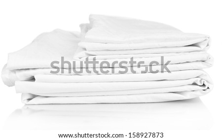 Close up of bedding sheets isolated on white - stock photo