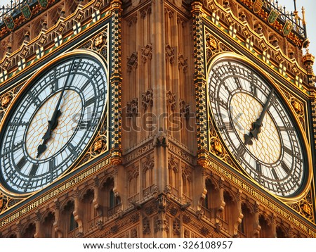 Close up of Big Ben in London - stock photo