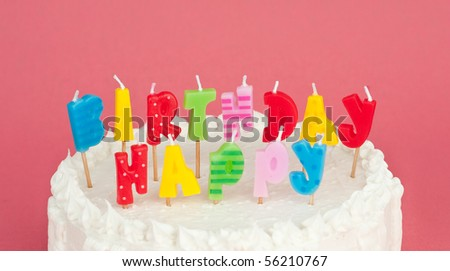 Close Up of Birthday Cake With Candles - stock photo