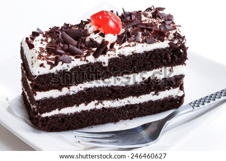 Close up of Black forest cake on white background - stock photo
