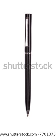 Close up of black pen isolated with clipping path on white - stock photo