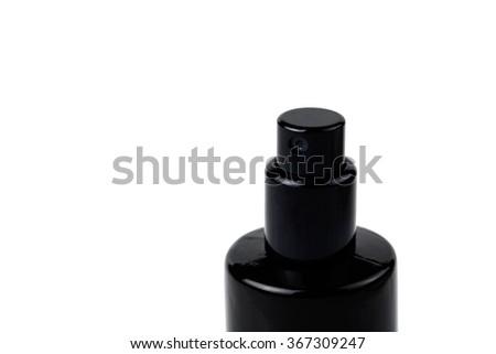 Close up of Black spray bottle isolated on white background - stock photo