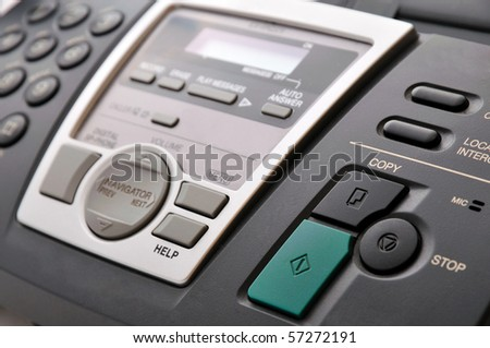close up of black telephone fax with buttons - stock photo