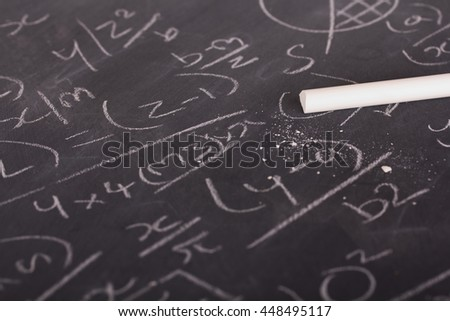 Close up of blackboard with maths equations and sums - stock photo