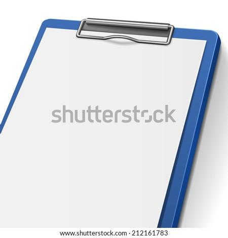 close-up of blank clipboard isolated on white background - stock photo