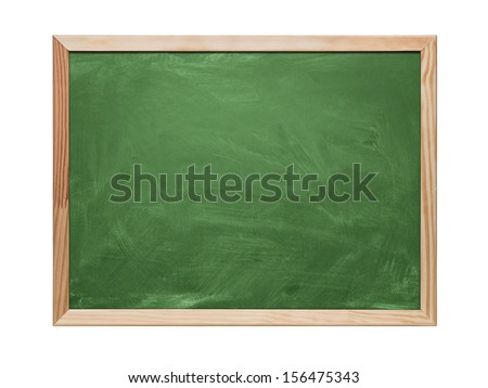 Close up of blank green chalkboard, blackboard isolated on white background with copy space - stock photo