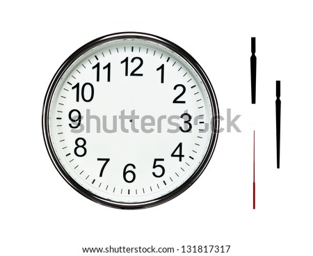 Close up of blank silver clock isolated on white background with clipping path for all elements so you can easily set your own time - stock photo