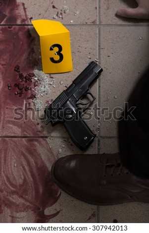 Close-up of blood and gun - evidence of murder - stock photo