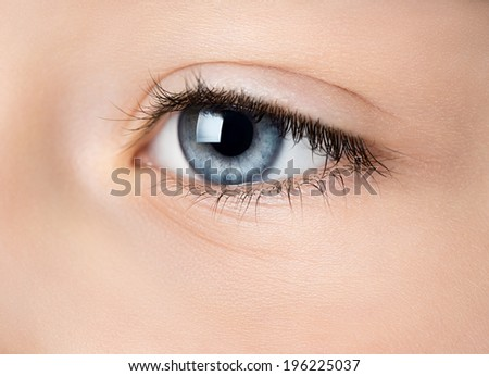 Close up of blue eye.  Side view, selective focus. - stock photo