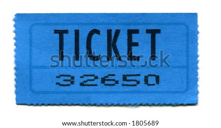 Close-Up of Blue General Admission Ticket Isolated on a White Background. - stock photo