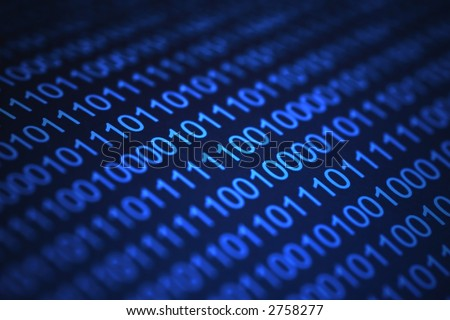 Close-Up of blue-light binary code on dark background with shallow DOF - stock photo