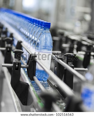 Close up of bottle industry - stock photo