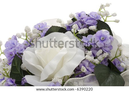 Close up of bouquet of flowers isolated on a white background - stock photo