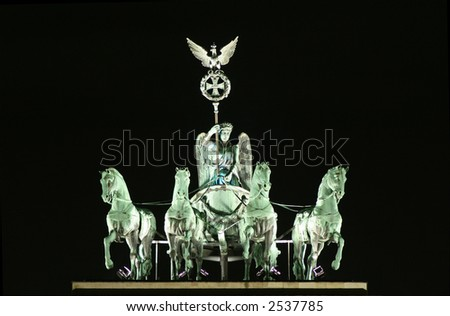 close up of brandenburger tor statue - stock photo
