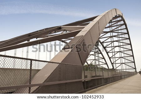Close-up of bridge with bicycle pedestrian lane - stock photo