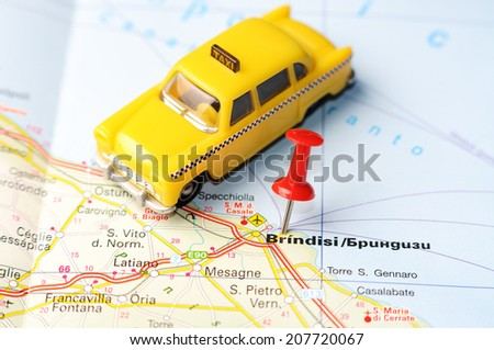 Close up of  Brindisi  , Italy map with red pin    - Travel concept - stock photo