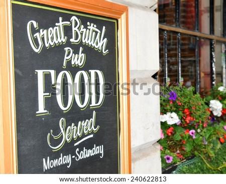 Close up of British pub sign board - stock photo