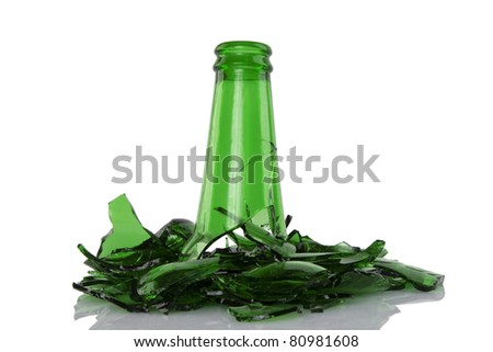 close up of broken green bottle on white background - stock photo