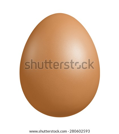 Close up of Brown Egg, isolated on white background with clipping path - stock photo