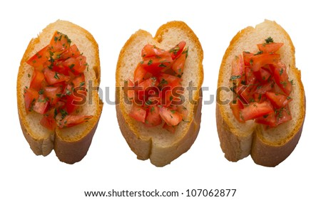 close up of bruschetta bread isolated on white - stock photo