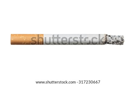 Close up of burning cigarette isolated on white background - stock photo