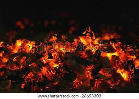 close up of burning coals - stock photo