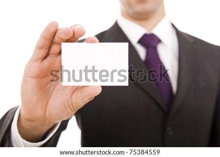 Close-up of business card in business man?s hand - stock photo