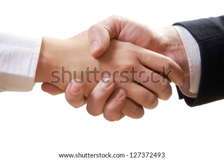Close- up of business handshake isolated on white background - stock photo
