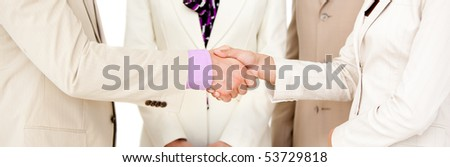Close-up of business partners shaking hands. Business concept. - stock photo