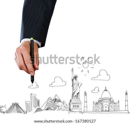 Close up of businessman hand sketching images - stock photo