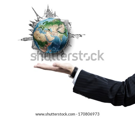 Close up of businessman hand with Earth planet in palm. Elements of this image are furnished by NASA - stock photo