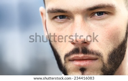 Close-up of businessman outdoor - stock photo