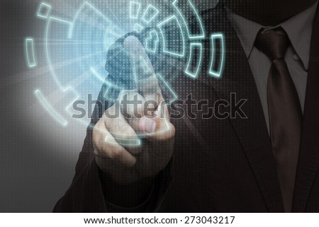Close up of businessman person working with modern virtual technology - stock photo