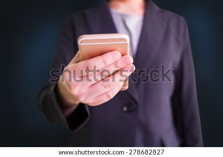 Close up of businessman using smartphone. Business concept - stock photo
