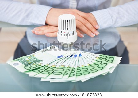 Close-up Of Businessperson With Thermostatic Valve And Banknotes - stock photo