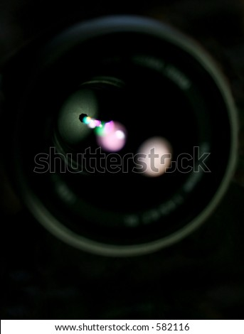 close up of camera lens - stock photo
