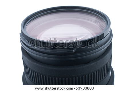 Close up of camera lens on white background - stock photo