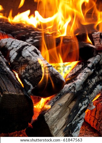 Close up of camp fire flames and fire - stock photo