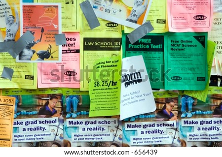 Close-up of campus bulletin board - stock photo
