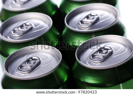 Close up of cans with cold drink - stock photo