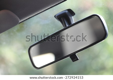 Close up of car mirror - stock photo