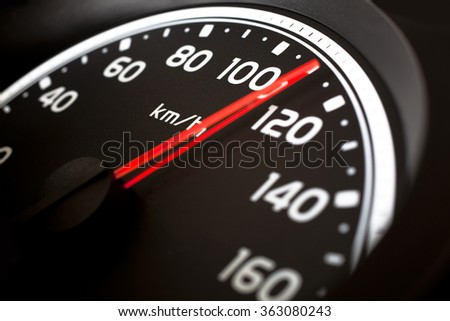 Close up of car speed meter  - stock photo