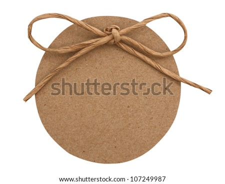 close up of card note with paper ribbon on white background - stock photo