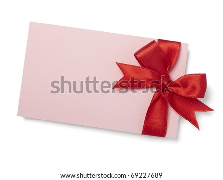 close up of  card note with red ribbon on white background  with clipping path - stock photo