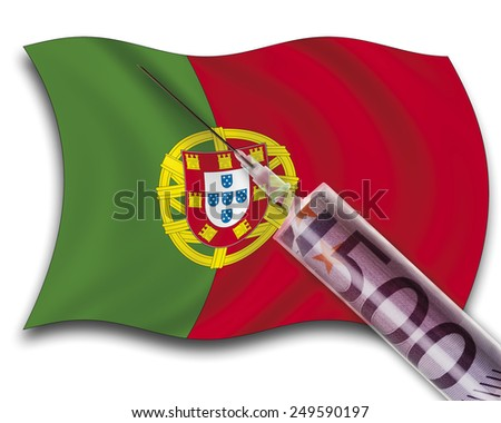 Close up of cash injection on portuguese flag - stock photo