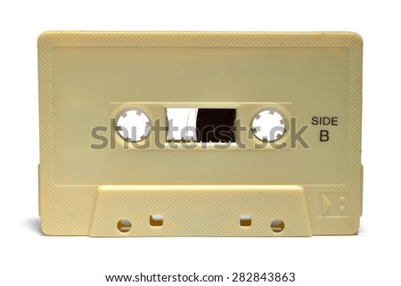 Close up of cassette tape isolated on white background, selective focus.  - stock photo