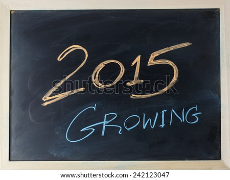 close up of chalkboard with finance business and growing topic - stock photo