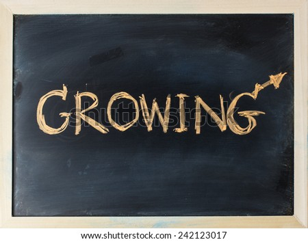 close up of chalkboard with growing topic - stock photo
