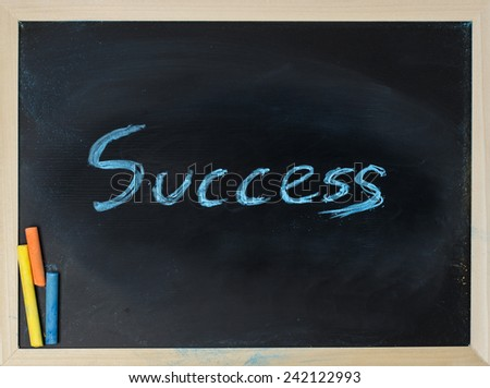 close up of chalkboard with success topic and chalk - stock photo